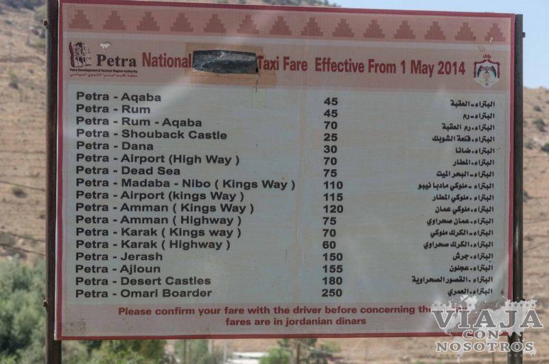Precio de taxis en Petra
