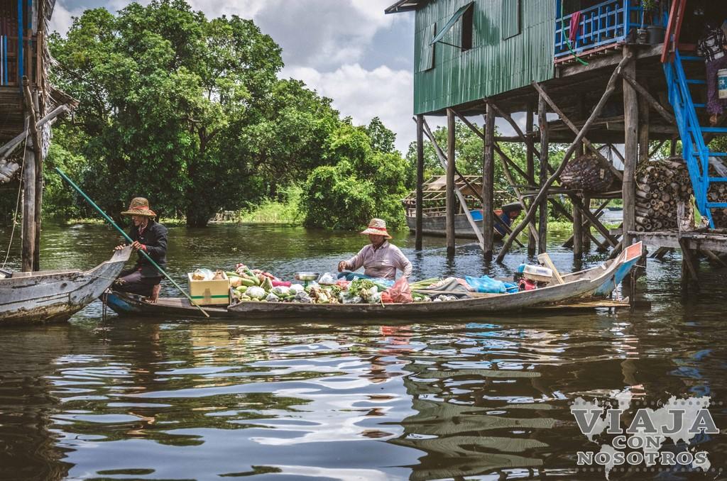 Kompong Phluk, pueblo flotante en el lago Tonle Sap